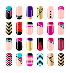 Nail art design geometric nail stickers template vector