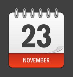 November 23 calendar daily icon vector