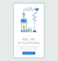 Online laboratory mobile webpage template lab vector