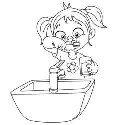 Outlined girl brushing teeth vector