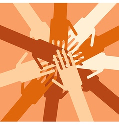 People overlapping hands to show unity vector