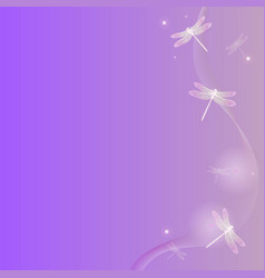 pink abstract background with dragonflies vector image