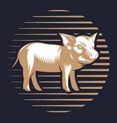 pork or pig silhouette vintage logo design vector image