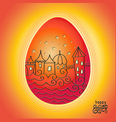red easter egg with drawing town landscape vector image
