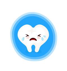 sad unhealthy crying sick tooth vector image