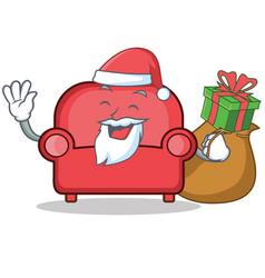 Santa red sofa character cartoon vector