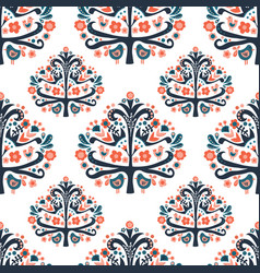 scandinavian folk art tree seamless pattern vector image