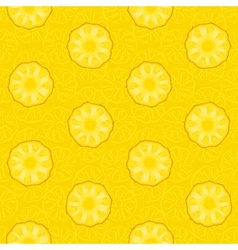 Seamless pattern of yellow pineapple slices vector image