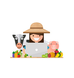 sell concept with women farmer and laptop vector image