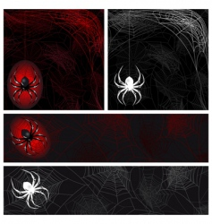 set from autumn background with a spiders web vector image