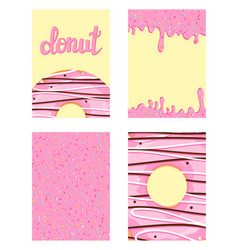 set of bright food cards set of donuts with pink vector image