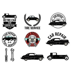 Set of Retro car club labels vector image