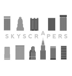 set of skyscrapers simple cartoon picture for vector image