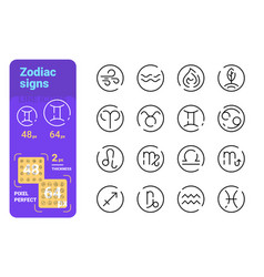 set zodiac simple lines icons star signs vector image