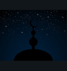 Silhouette mosque on blue starry night sky vector