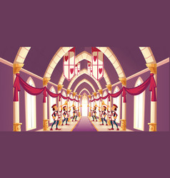 solemn trumpeters playing march cartoon vector image