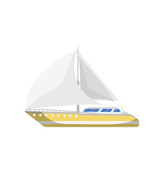 Speedy yacht side view isolated icon vector