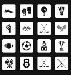 sport equipment icons set squares vector image