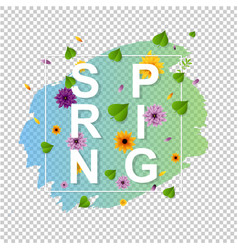 spring text with leaf transparent background vector image