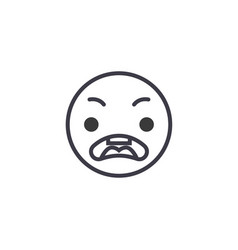 surprised emoji concept line editable vector image