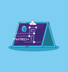 Tablet with fintech icons vector