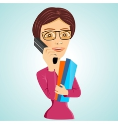 teacher with glasses and folders vector image