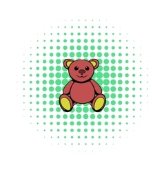 Teddy bear icon comics style vector