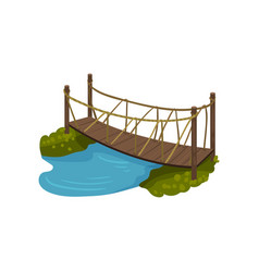 timber bridge with rope railings small wooden vector image