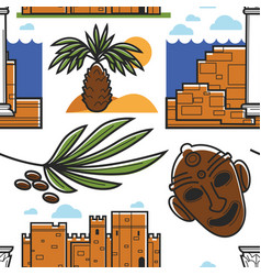 tunisia symbols palm tree and ancient ruins mask vector image