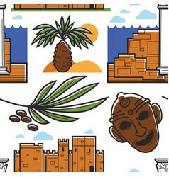 Tunisia symbols palm tree and ancient ruins mask vector