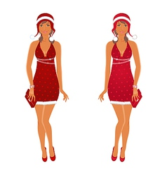 Two Christmas beautiful girls isolated vector image