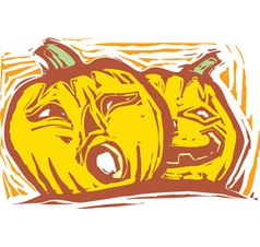 Two Jack-o-lanterns vector