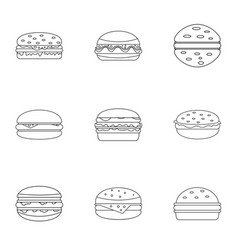unhealthy food burger icon set outline style vector image