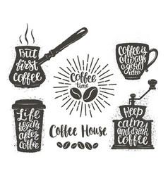 Vintage coffee objects with handwritten phrases vector