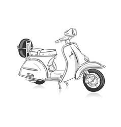 Vintage scooter sketch for your design vector