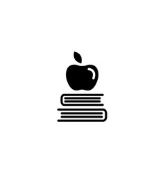 web icon apple on books knowledge icon vector image
