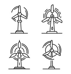 Wind turbine icons set outline style vector