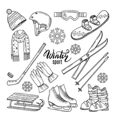 winter sport scarf gloves ski vector image