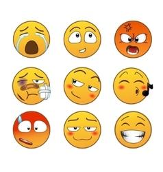 Yellow emotions set vector image
