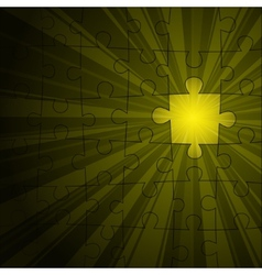 Yellow puzzle shine vector image