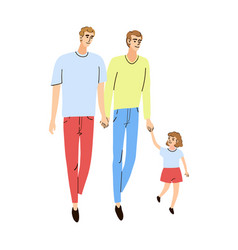 young family two dads and daughter together vector image