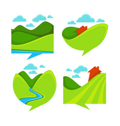 collection of rural landscape icon symbols and vector image