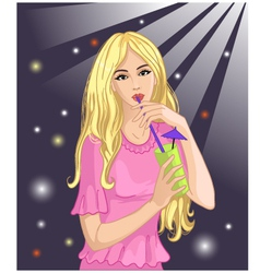 Girl drinks cocktail vector image vector image