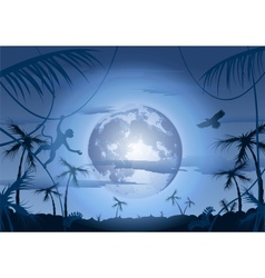 night in jungle and moon vector image