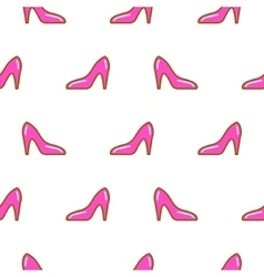 Pink shoe line icon seamless pattern vector image