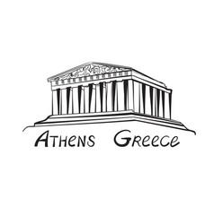 travel greece sign athens famous trmple landmark vector image