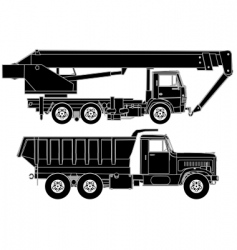trucks silhouette vector image vector image