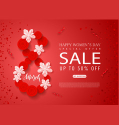 8 march - happy women s day sale banner beautiful vector