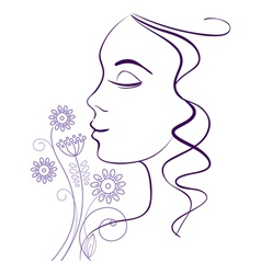 Beautiful woman silhouette with a flowers vector image vector image