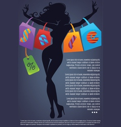 commercial background with girl silhouette and sho vector image vector image